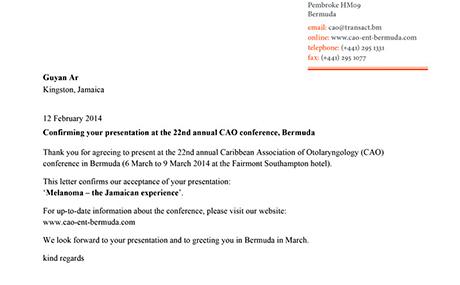 CAO Bermuda letterhead