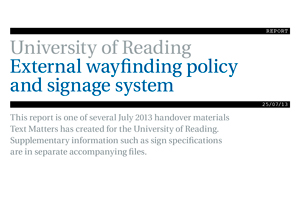 Univ Reading external wayfinding report cover