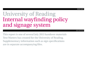 Univ Reading internal wayfinding report cover